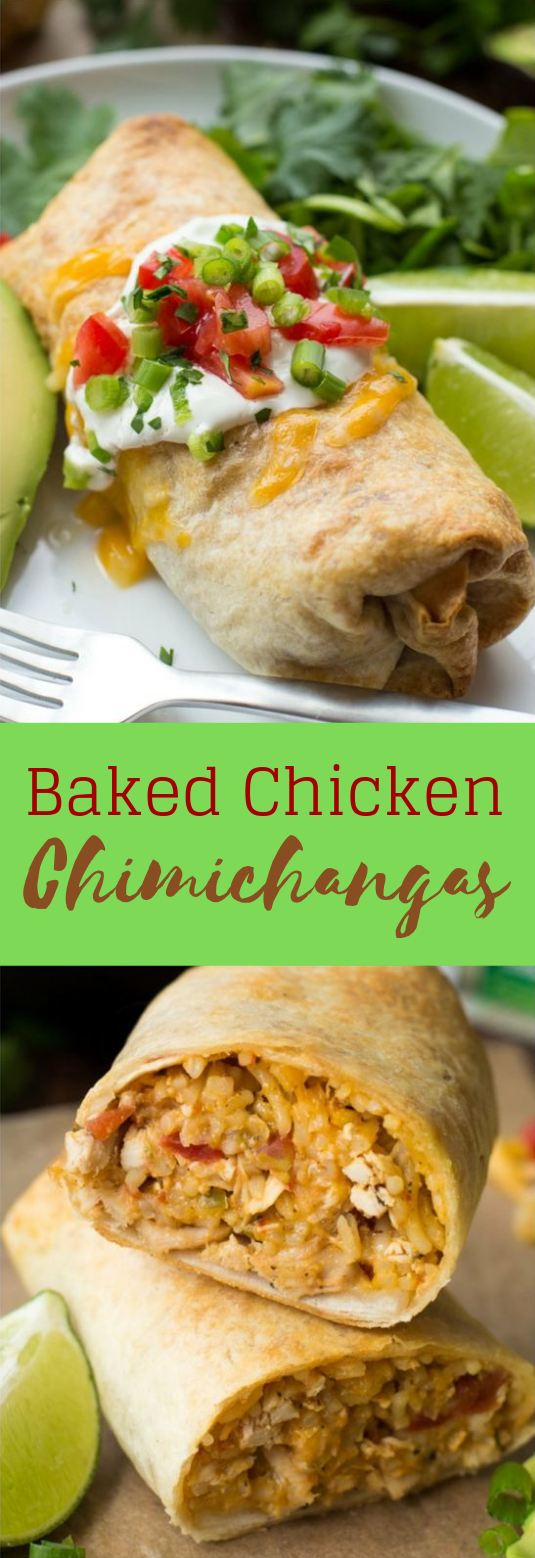 BAKED CHICKEN CHIMICHANGAS #Chicken #Dinner