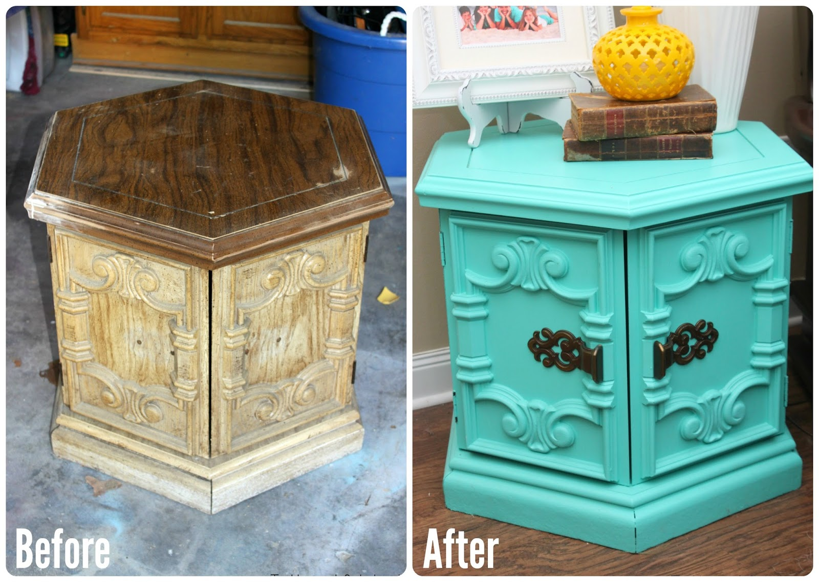 Tattered And Inked Turquoise Hexagon End Table Redo