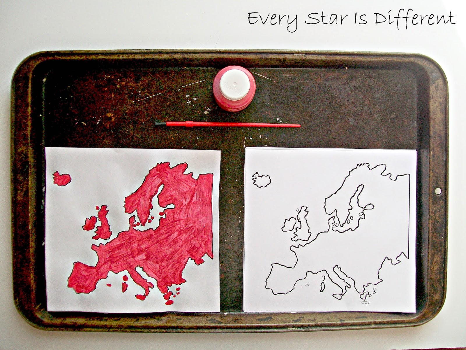 Painting Europe Activity for Kids