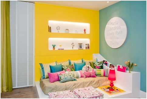Colorful and joyful bedroom for teenage girl. Yellow and turquoise dormitory