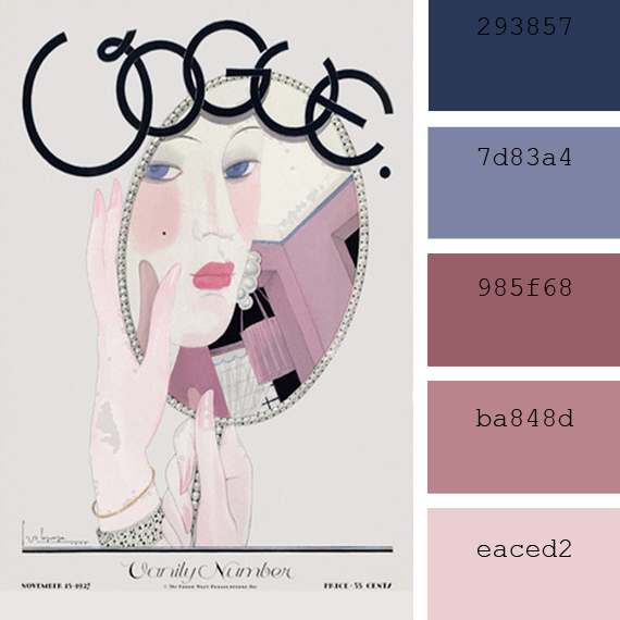 deco rose color pantone, Georges Lepape vogue cover color palette