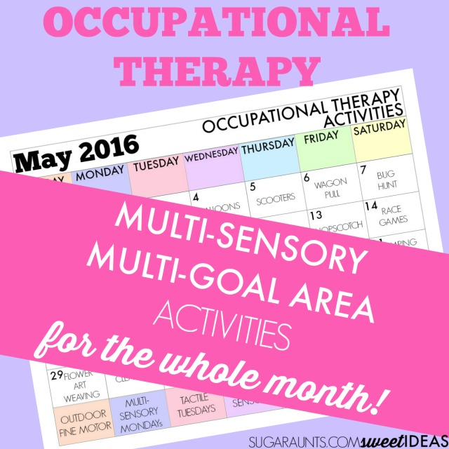 April Occupational Therapy calendar of OT treatment ideas.