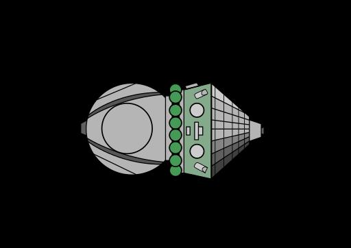 Capsula Vostok, schema semplificato: con modulo di discesa e modulo di servizio.