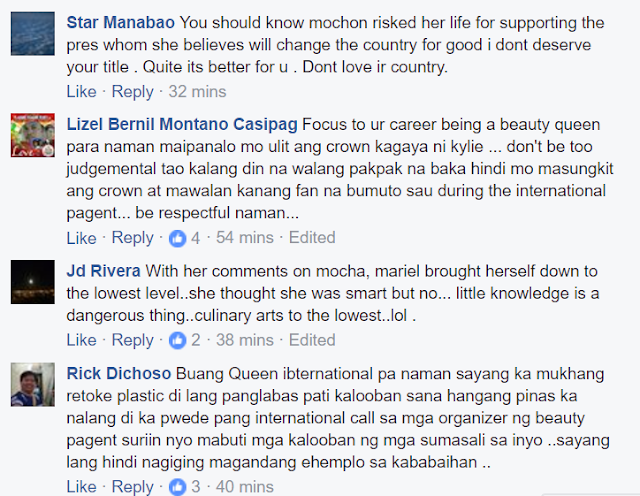 Fearless netizens slam Bb. Pilipinas International 2017 Mariel de Leon over negative remark on Mocha's appointment
