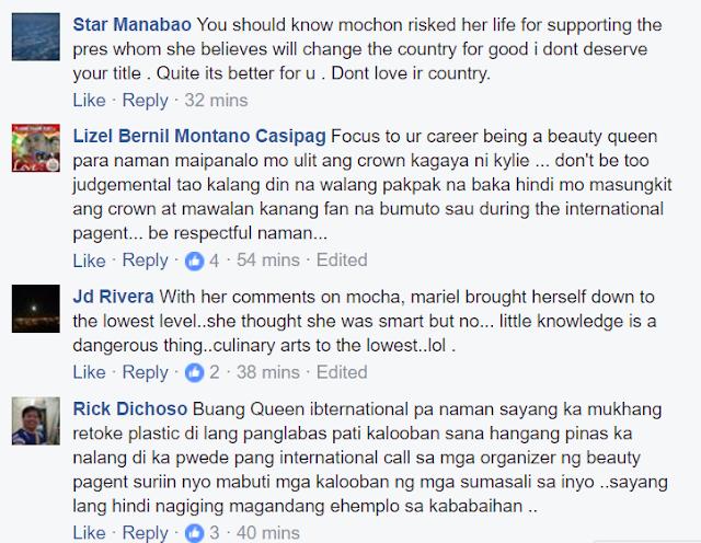 Fearless netizens slam Bb. Pilipinas International 2017 Mariel de Leon over negative remark on Mocha's appointment
