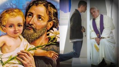 imagem de São José e do Papa Francisco no confessionário