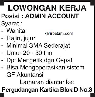 Lowongan Kerja Kompleks Pergudangan kartika (Admin Account)