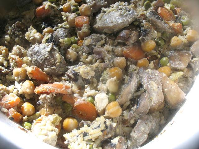 Creamy Chickpea, Mushroom and Rice Casserole