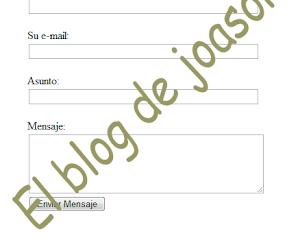 Formulario de contacto con validación de campos en php
