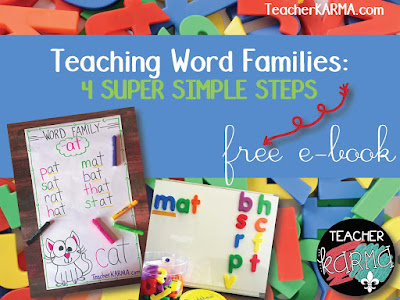 how to teach word families FREEBIE TeacherKARMA.com