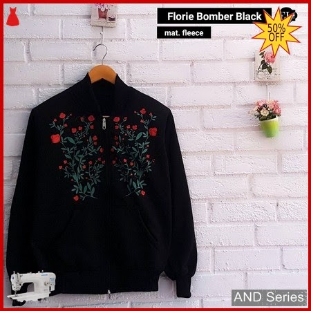 AND247 Jaket Wanita Florie Bomber Jacket Hitam BMGShop