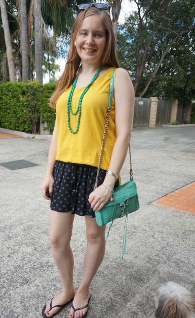 mustard tank, jeanswest parker printed shorts aquamarine accessories, Australia day green and gold | awayfromblue