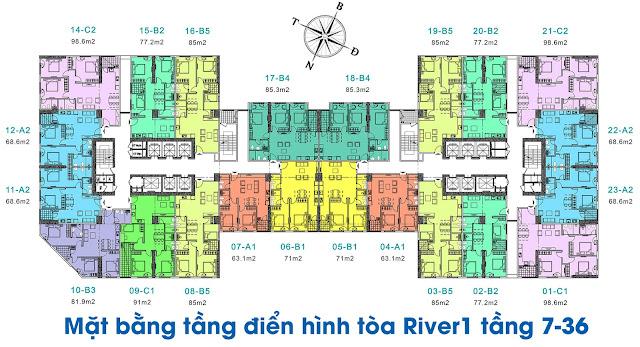 Mặt bằng tổng thể tòa River-1 tầng 7-36 chung cư EuroWindow River Park
