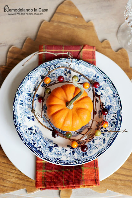 Blue plates - Royal Staffordshire plates with pumpkin and plaid napkins