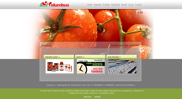 Picture to Italian food exporter company named Columbus