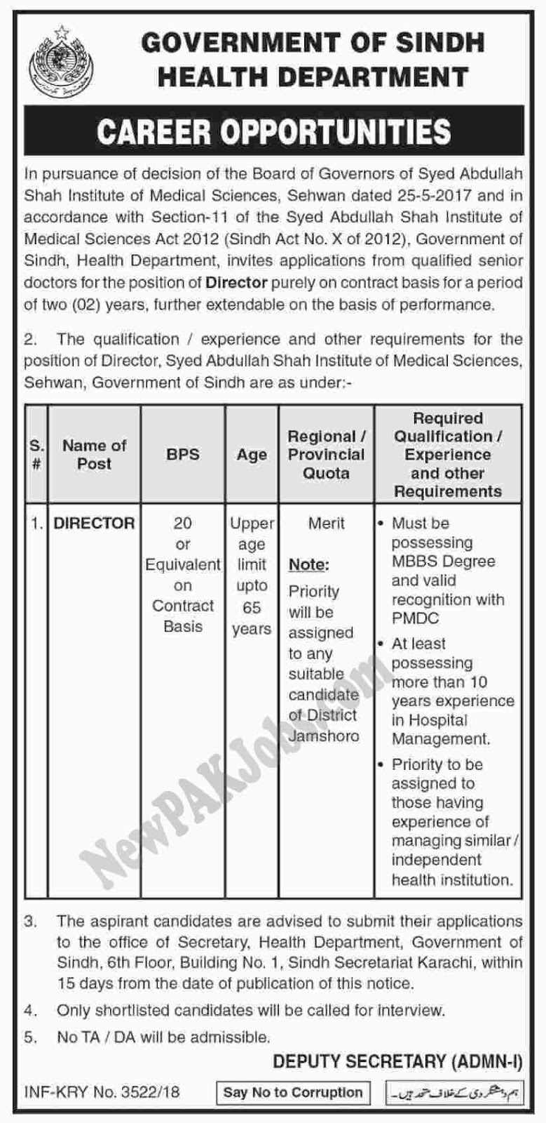 Current New Jobs in The Government of Sindh health Department