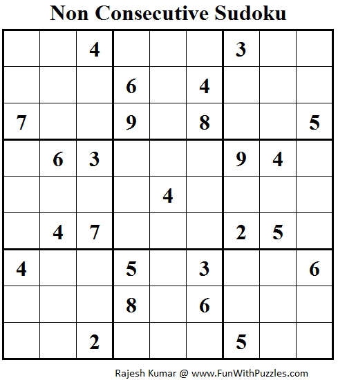 Non Consecutive Sudoku (Fun With Sudoku #64)