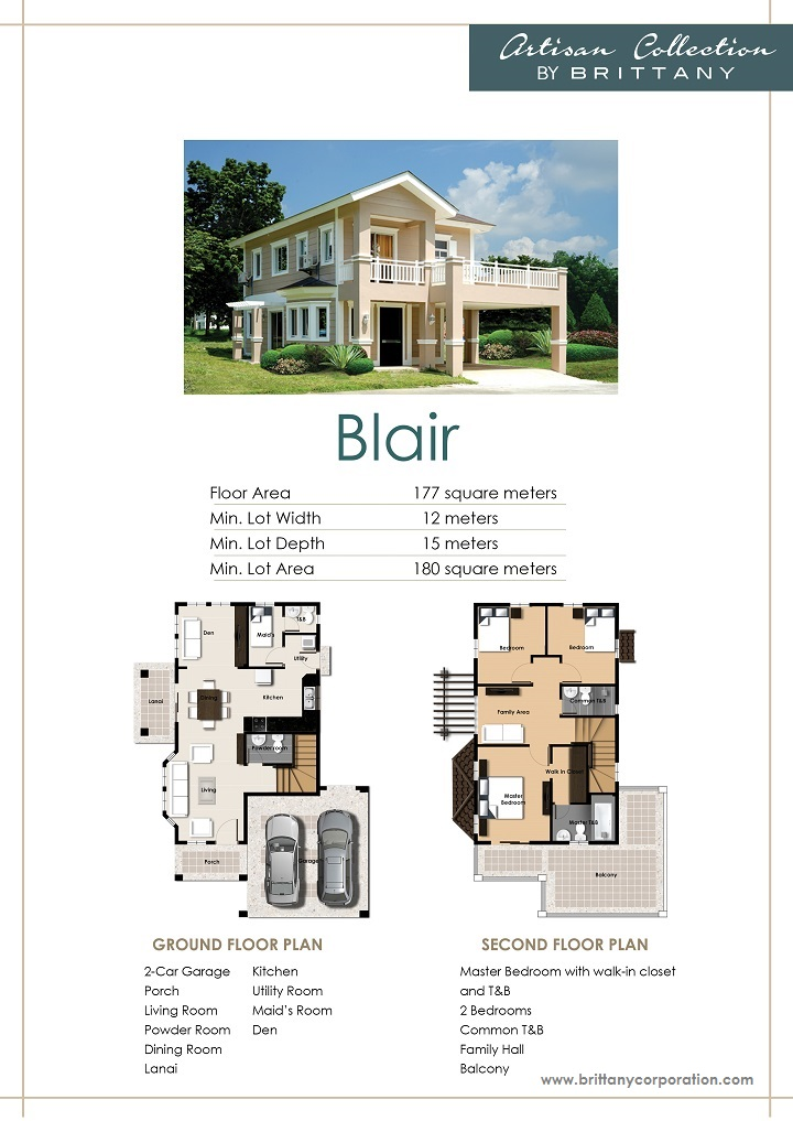 Floor Plan of Blair Model - Georgia Club | House and Lot for Sale Sta. Rosa Laguna