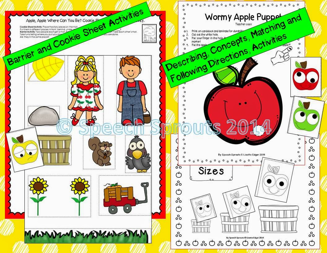 Apple- themed Speech and Language Therapy Activities