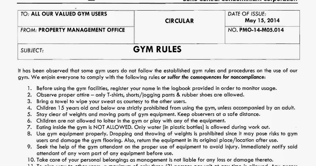 GYM RULES AND REGULATIONS EBOOK