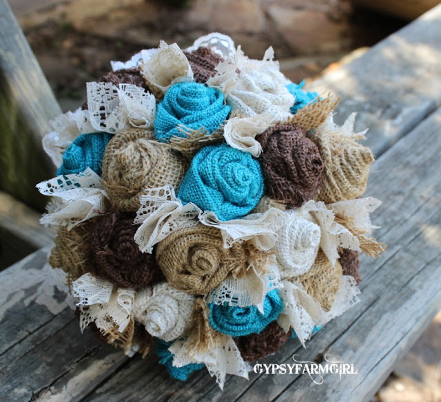 turquoise burlap and lace bridal bouquet