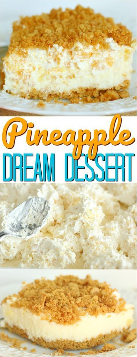 (Almost) No-Bake Pineapple Dream Dessert #nobake #pineapple #dessert #dessertrecipes #easydessertrecipes #cake #cakerecipes
