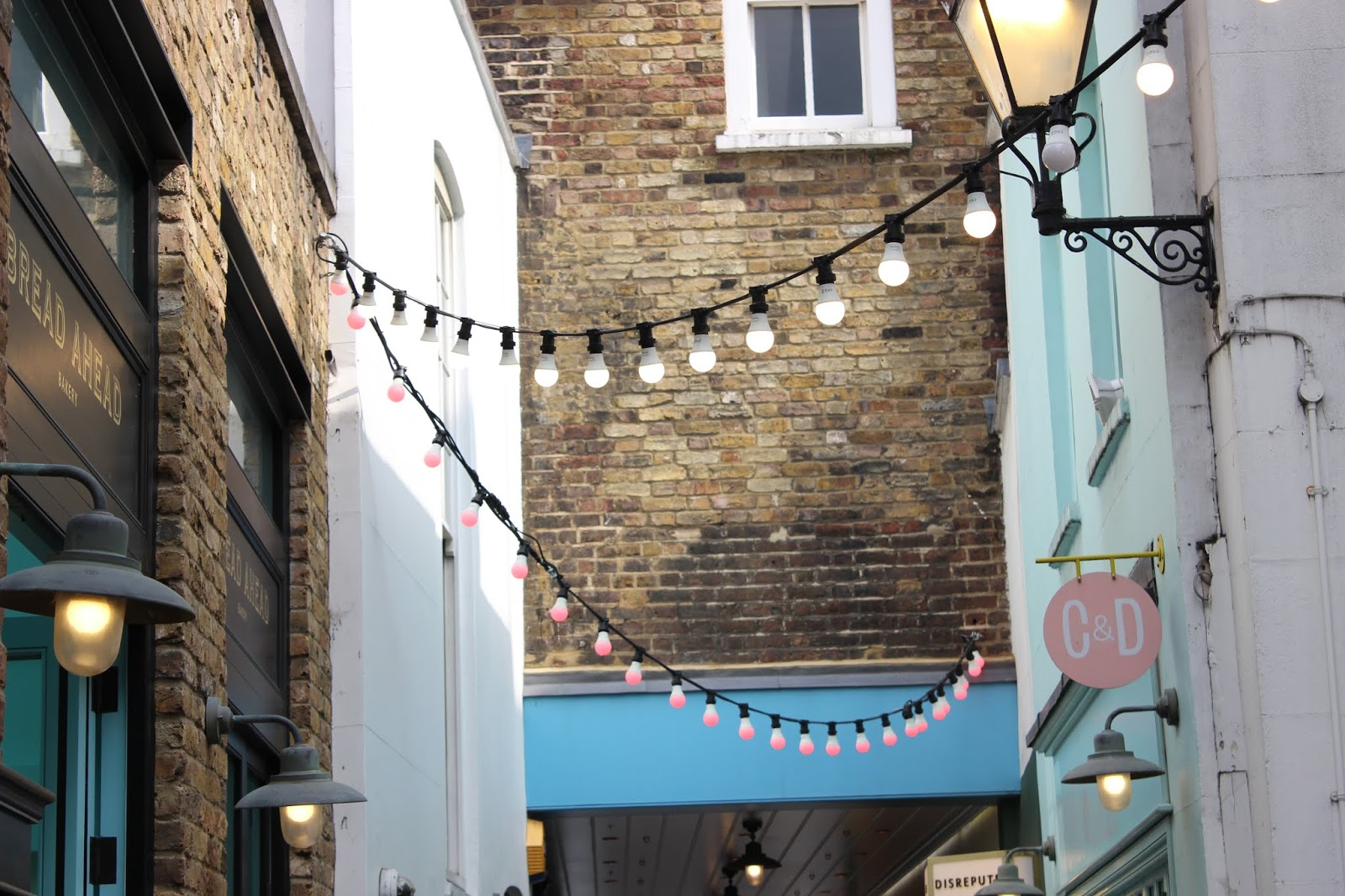 Fairy lights outside Crumbs and Dollies in Kingly Court