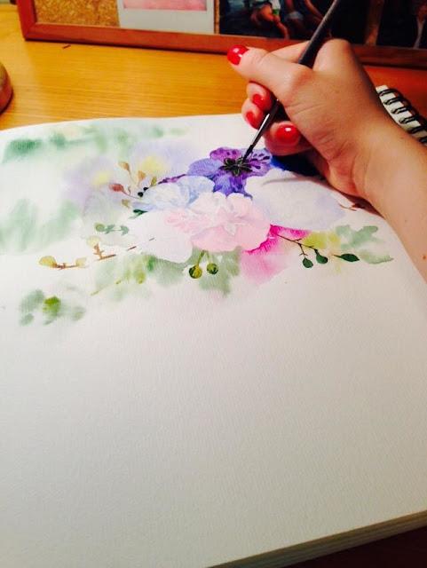 watercolour illustration, flower illustration watercolour, artist uk, artist england, artist, flowers