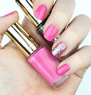 L'Oreal Color Riche Le Vernis 242 Pink O Pop 842 Sequin Explosion nail swatch review