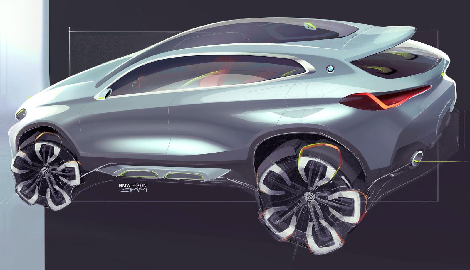 BMW X2 sketch by Sebastian Simm - side view in silver