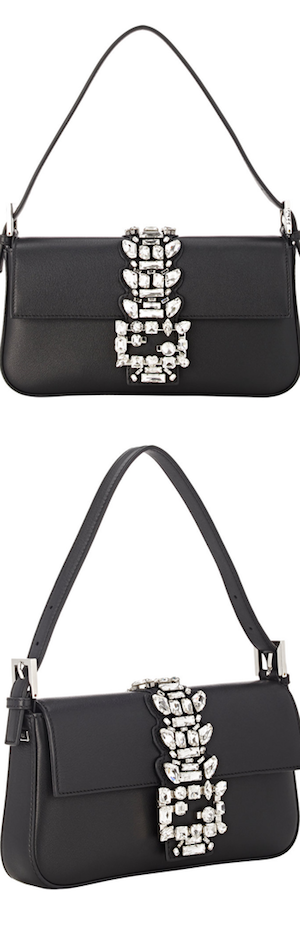 Fendi Baguette Medium Calf Shoulder Bag w/Crystal Strap, Black