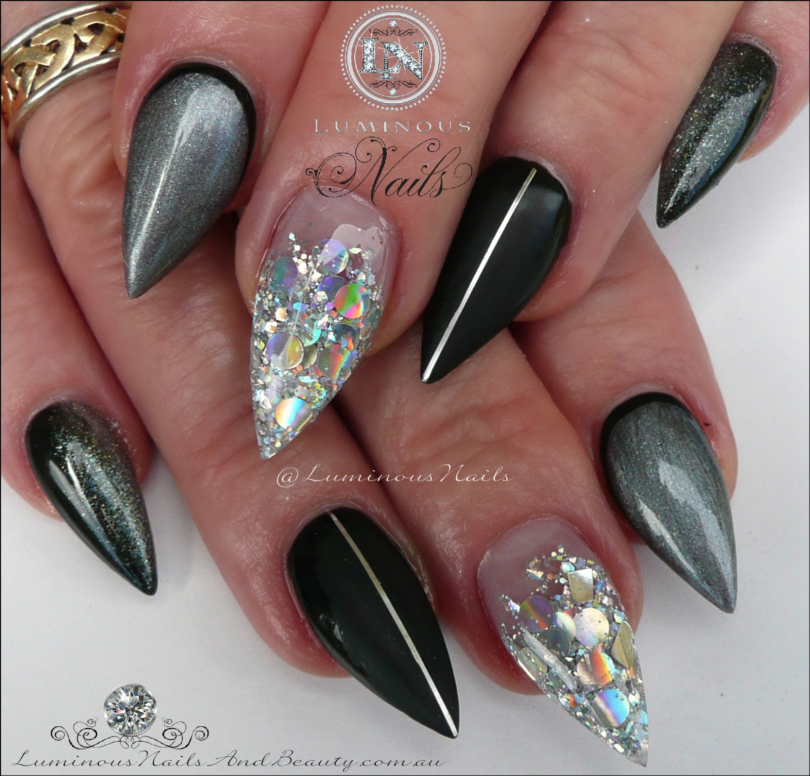 luminous nails black matt black steel grey ombre