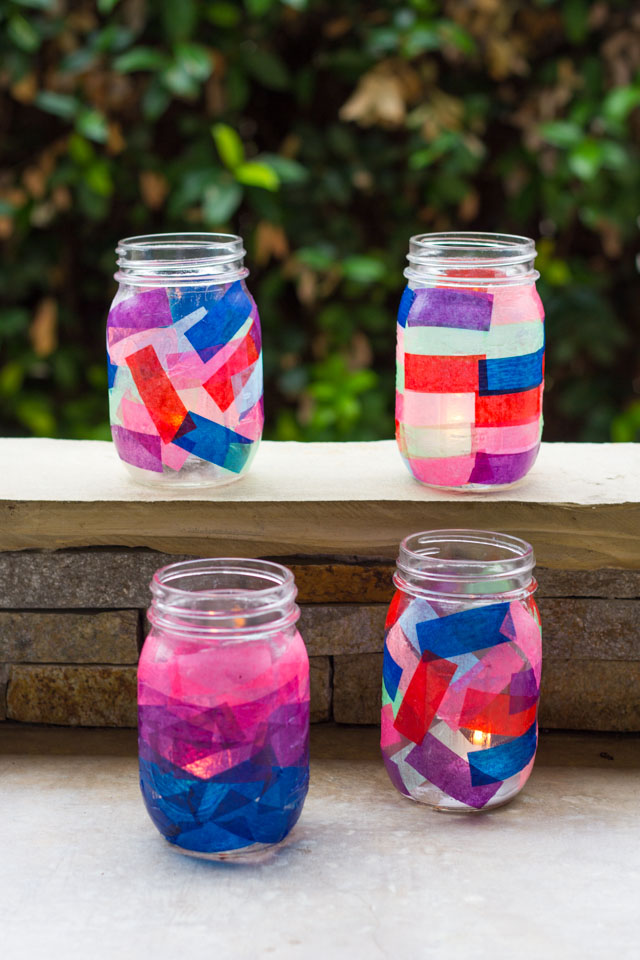 The easiest summer lanterns! Add tissue paper to the outside of mason jars. A fun kids craft too!