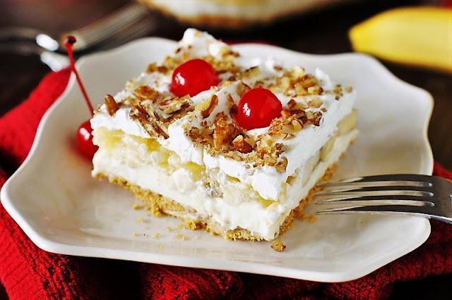 Square of No-Bake Banana Split Cake On a Plate Image