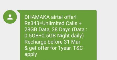 Airtel now offers 28GB Data & Unlimited Free Calls for Rs