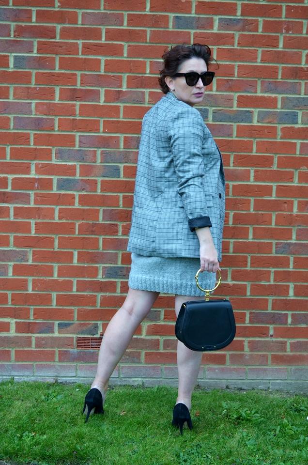 Adriana Style Blog, blog modowy Puławy, Celine Sunglasses, Chloe Nile Bag, Krata Księcia Walii, Lawool Dress, Odcienie Szarości, Prince of Wales Check Pattern, Shades of Grey, Topshop heels