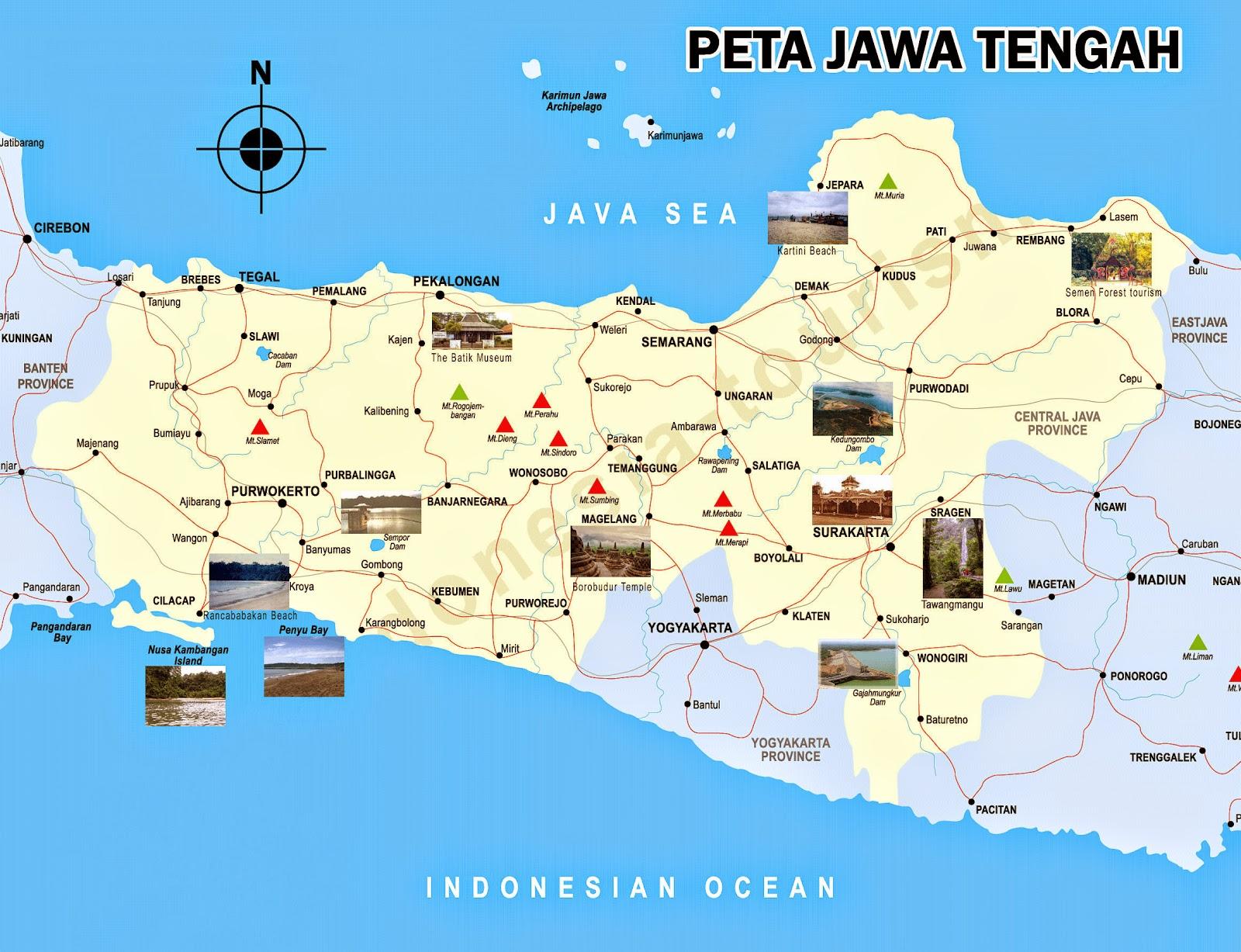 Gambar Peta Jawa Tengah dan peta jalan