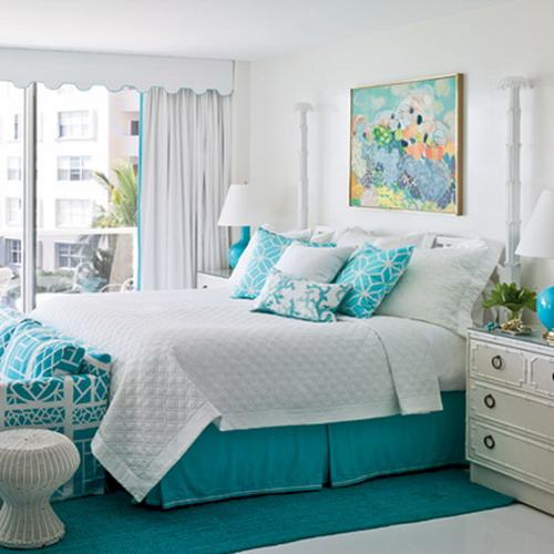 Dormitorios juvenil color turquesa y blanco for Dormitorio turquesa