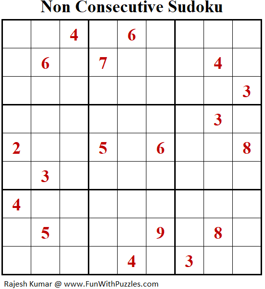 Non Consecutive Sudoku Puzzle (Fun With Sudoku #378)