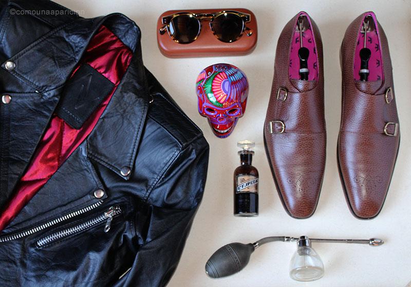 como-una-aparición-men-style-essentials-biker-jacket-sunglasses-monk-strap-shoes-moda-masculina-estilo-style