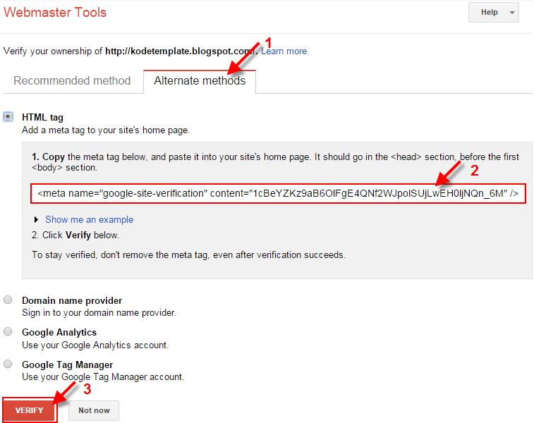 Cara Verifikasi Google Webmaster Tools Pada Blogger