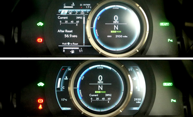 Lexus IS 300h F-Sport instrument cluster
