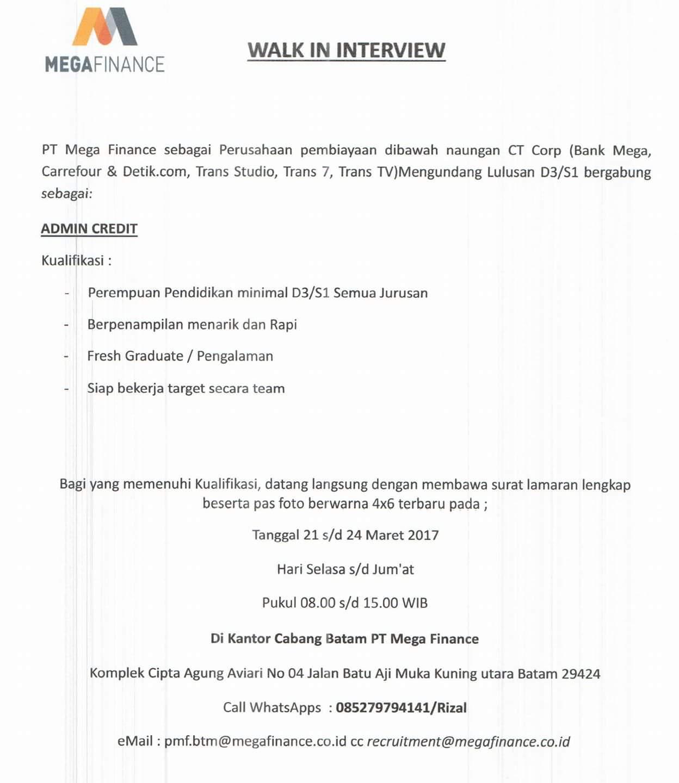 Lowongan Kerja PT. Mega Finance (21-24 Maret 2017) - Bang