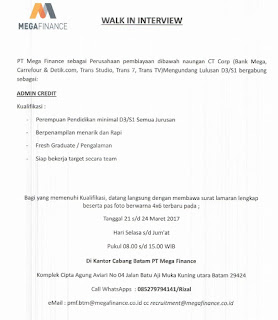 Lowongan Kerja PT. Mega Finance (21-24 Maret 2017)