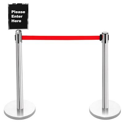 rental tiang antrian dengan sign frame