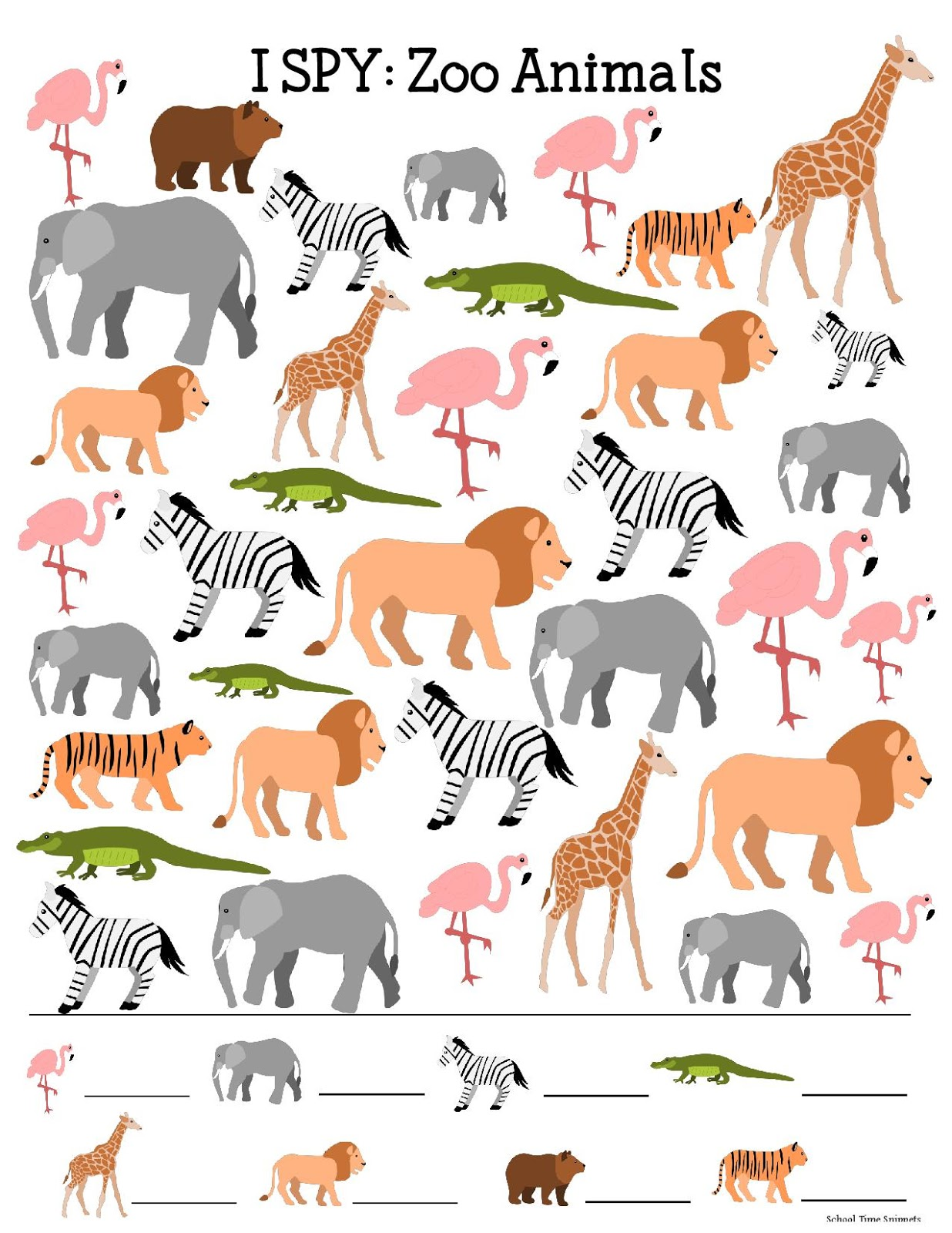 Zoo Animals I SPY Printable for Kids | School Time Snippets