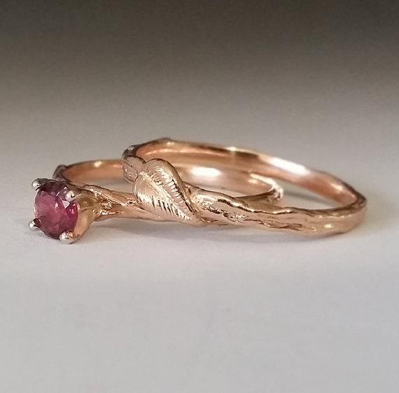 Twig Leaf Engagement Ring Morganite Branch Bridal Set 14k Rose Gold