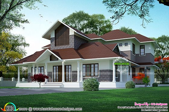 Cute slope roof double floor home