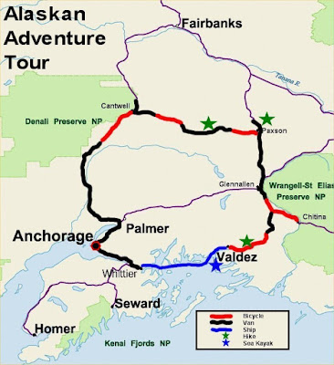 Map of the route of the Alaskan Adventure Tour