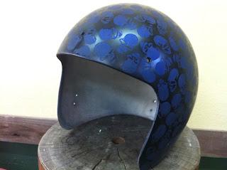 149513973 - カスタムペイント工程  ジェットヘルメット スカル クリアースピニング
